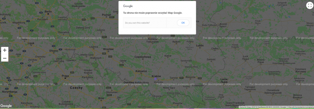 błąd google maps api for development purposes only